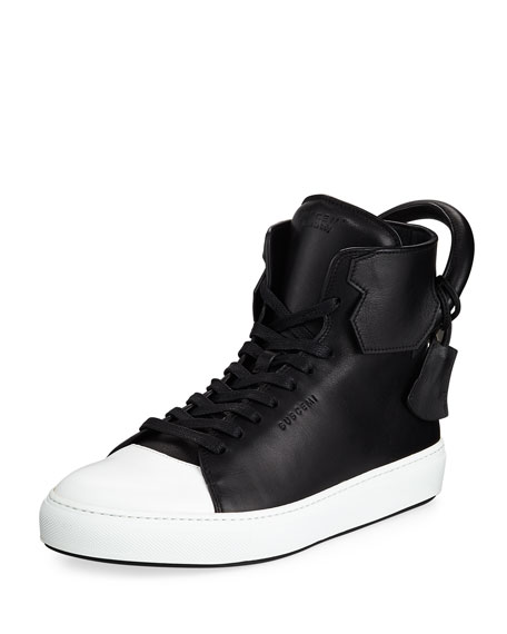 Buscemi Men's 125mm Leather High-Top Sneaker, Black/White
