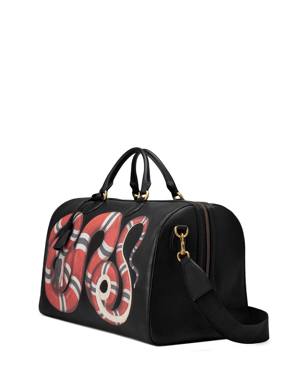 21ebbdfe87a3 Gucci Men's King Snake-Print Duffel Bag | Neiman Marcus