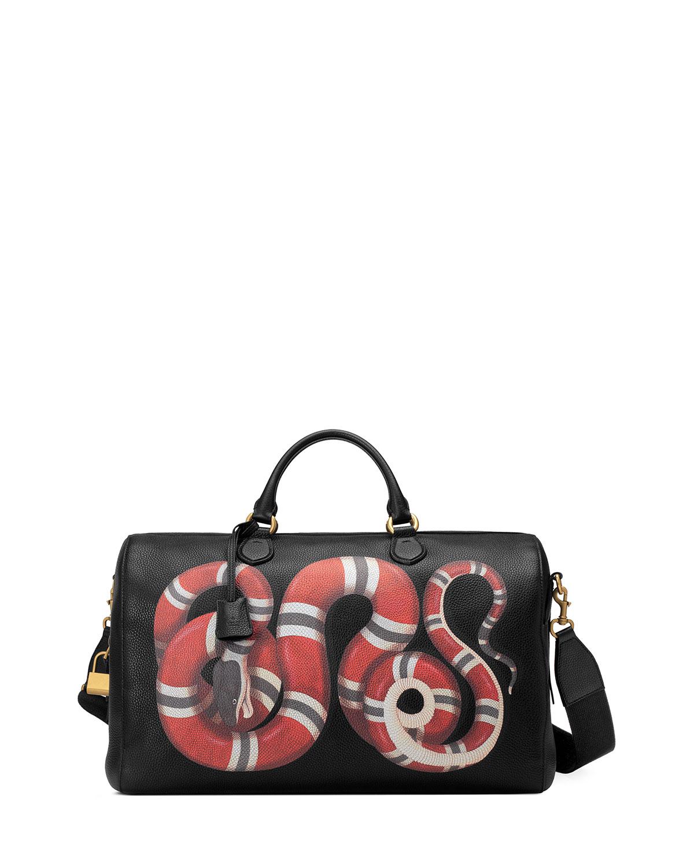 5b50978fe6d Gucci Men s King Snake-Print Duffel Bag
