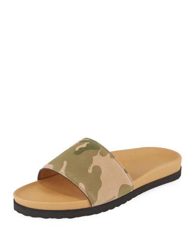 Camouflage-Print Suede Slide Sandal