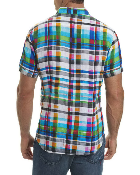 Hula Plaid Linen Sport Shirt