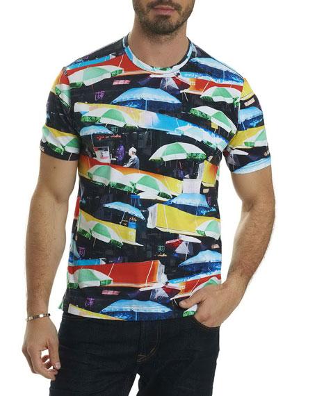 Umbrella-Print Graphic T-Shirt