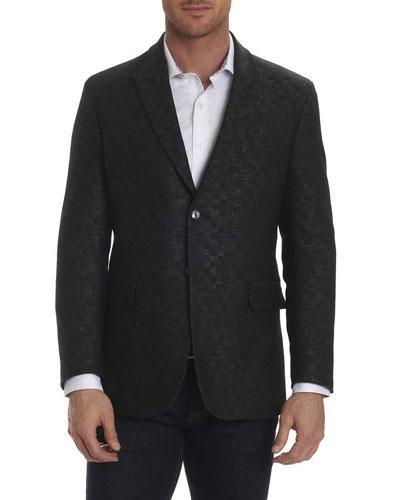 Gingham-Stitch Sport Coat