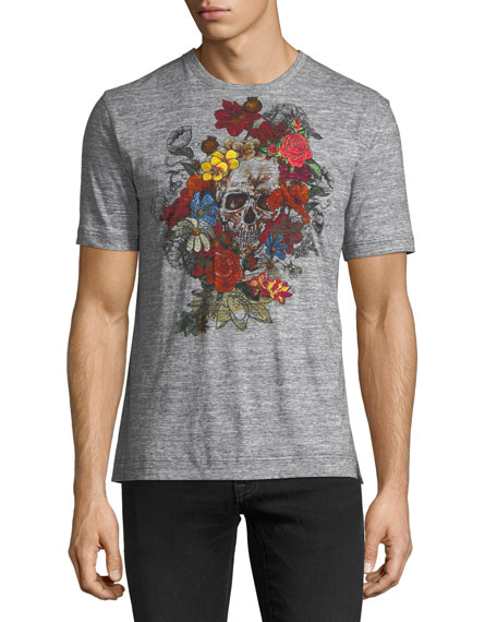 Floral and Skull Print Cotton Crewneck Tee