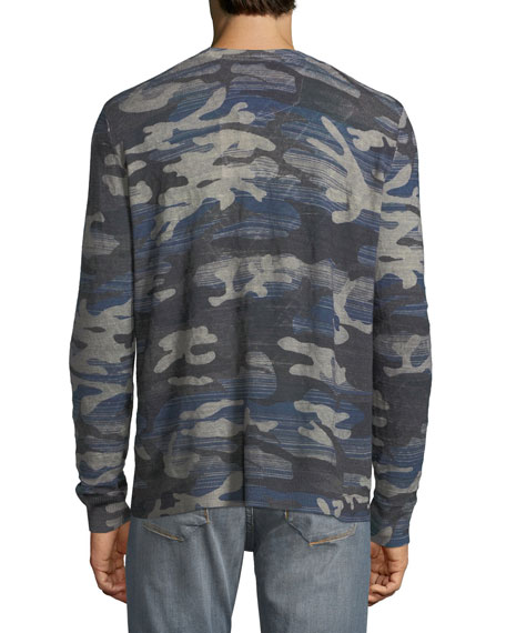 Triton Linen-Blend Long-Sleeve Camo T-Shirt