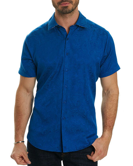 Robert Graham Gypsy Tonal Jacquard Short-Sleeve Sport Shirt