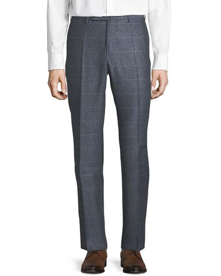 Men's Windowpane Silk-Blend Melange Trousers