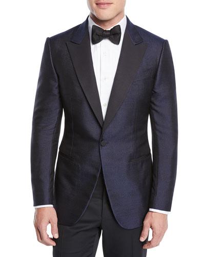 Men's Dotted Shawl-Collar Tuxedo Jacket