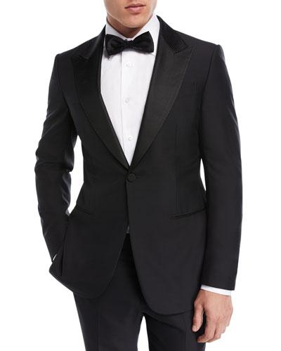 Textured-Lapel Wool-Silk Tuxedo