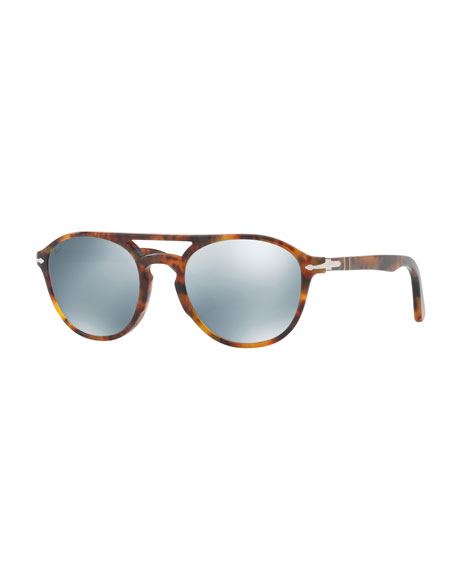 Persol PO3170S Mirrored-Lens Pilot Sunglasses