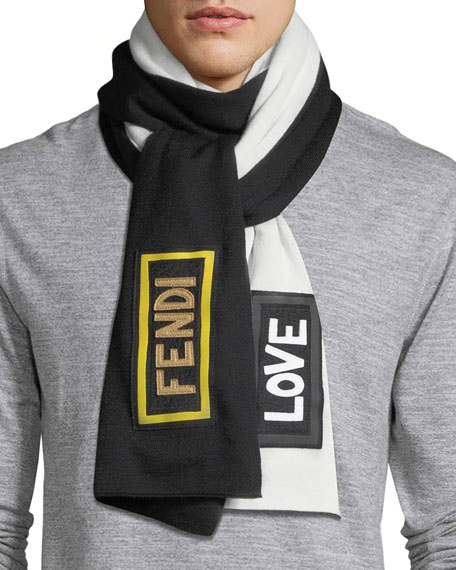 Fendi Monster Eyes Fleece Wool Scarf