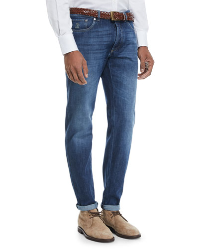 Basic-Fit Straight-Leg Denim Jeans