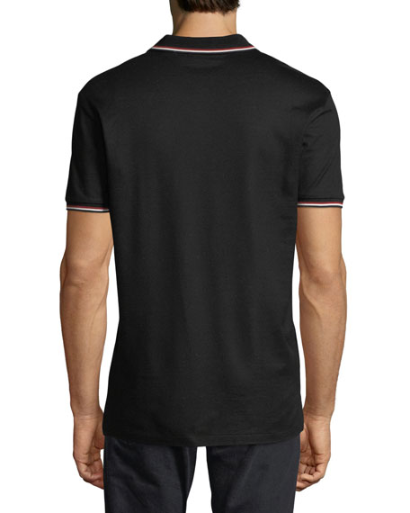 Contrast-Tipped Polo Shirt, Black