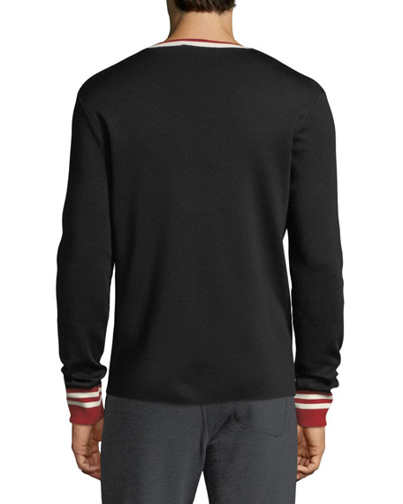 Contrast-Trim Wool Sweater