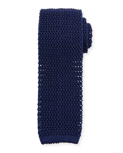 Silk Knit Flat-End Skinny Tie, Navy