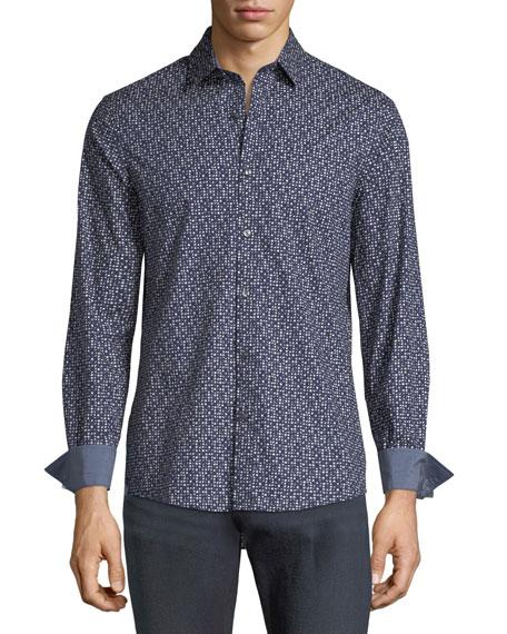 Michael Kors Dot-Print Shirt w/ Contrast Cuffs