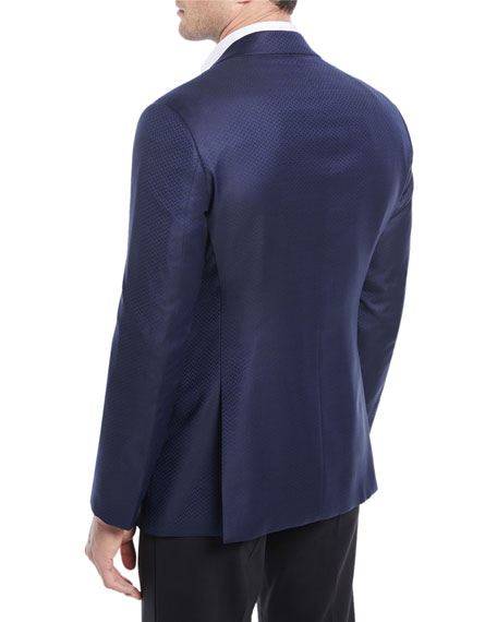 Herringbone Satin-Lapel Dinner Jacket