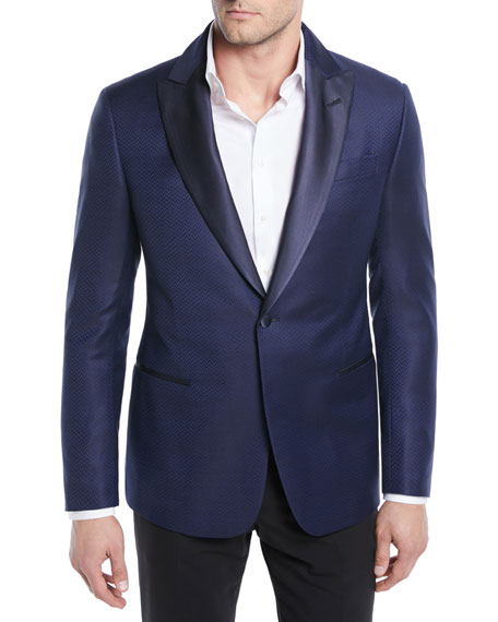 Giorgio Armani Herringbone Satin-Lapel Dinner Jacket