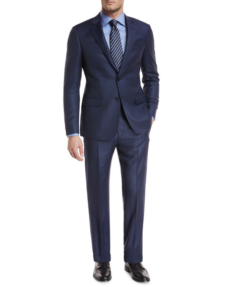Tonal-Dot Wool Two-Piece Suit