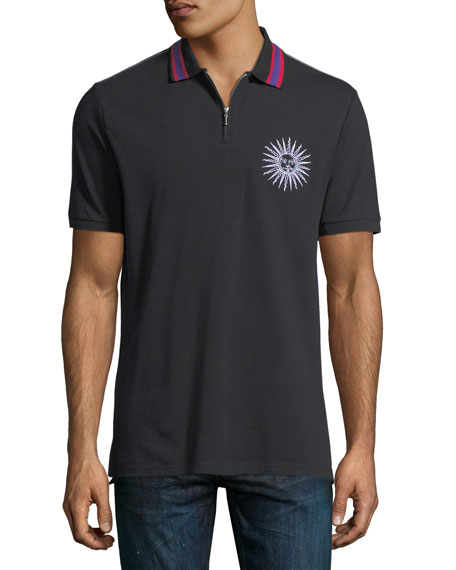 Sun-Embroidered Half-Zip Polo Shirt