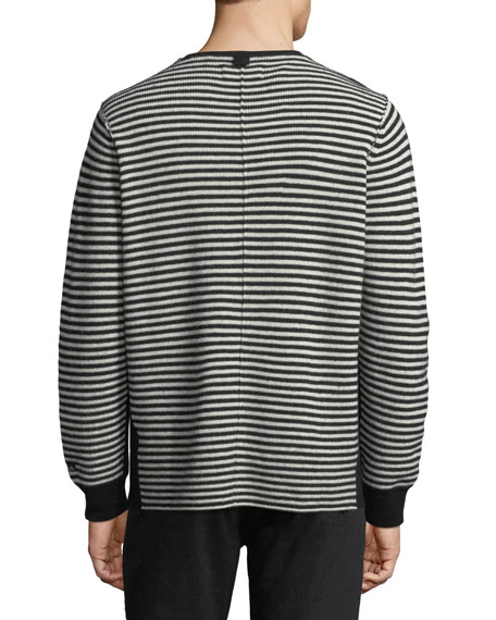 Striped-Knit Wool Sweater