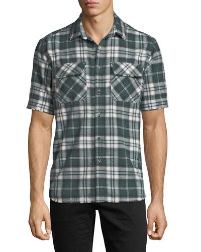 Plaid Short-Sleeve Camp Shirt
