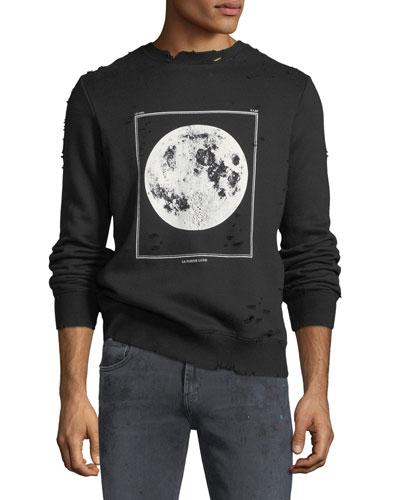 Moon Graphic Distressed Sweatshirt