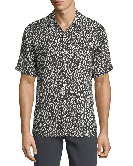 Ovadia & Sons Camp Leopard-Print Short-Sleeve Shirt