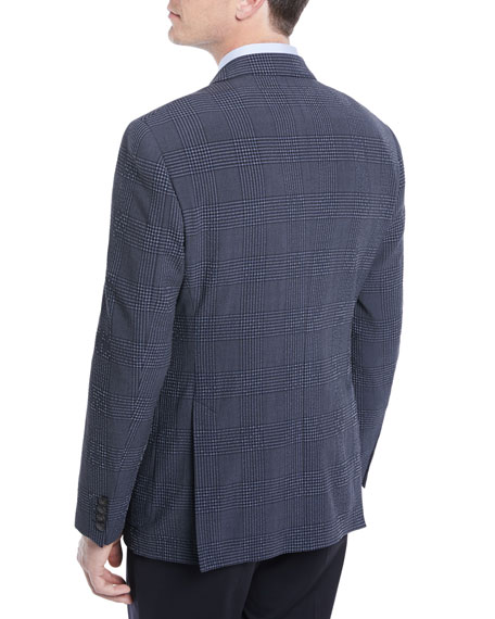 Wool-Silk Stretch Plaid Seersucker Blazer