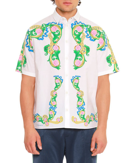 Versace Signature Miami-Printed Short-Sleeve Sport Shirt