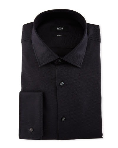 Jacques Tonal Jacquard Slim-Fit Dress Shirt