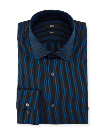 Slim-Fit Dotted Cotton Dress Shirt, Medium Blue