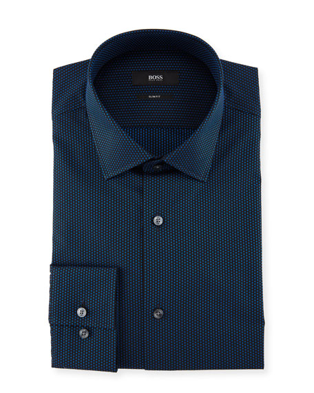 BOSS Jenno Slim-Fit Dotted Cotton Dress Shirt, Medium