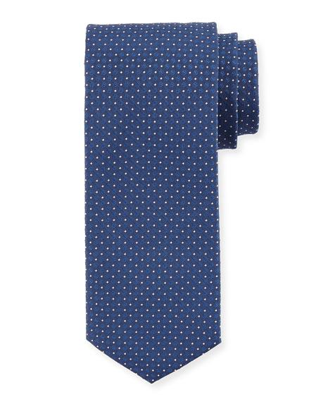 BOSS Circle-Print Silk Tie, Blue