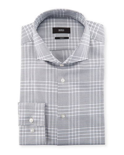 Slim Fit Large Plaid Cotton Dress Shirt