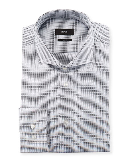 BOSS Jason Slim-Fit Large Plaid Cotton Dress Shirt