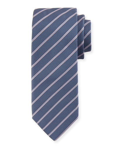 Striped Silk Tie, Navy