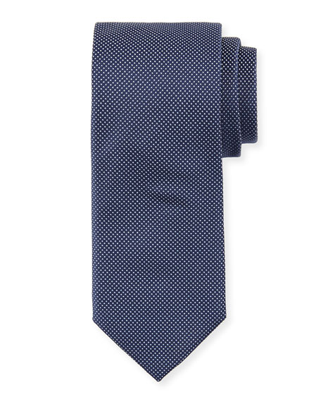 BOSS Dot-Print Silk Tie, Navy