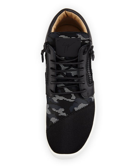 Men's Camouflage Mixed Media Trainer Sneakers