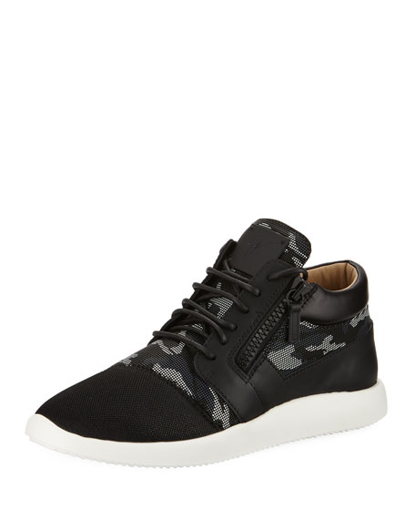 Giuseppe Zanotti Men's Camouflage Mixed Media Trainer Sneakers