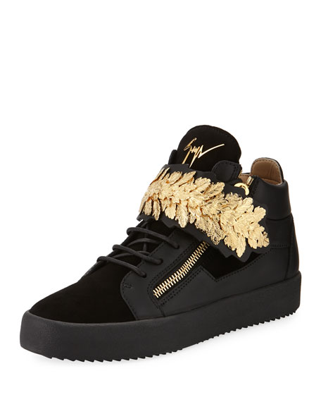 Men's Mid-Top Sneakers with Gold Leaf Strap, Black