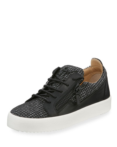 Men's Studded Dual Zip Low-Top Sneakers