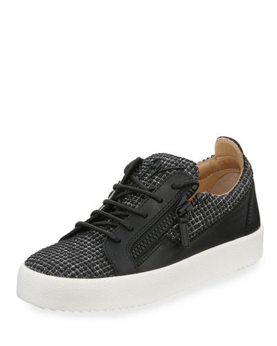 Studded Dual Zip Low-Top Sneaker