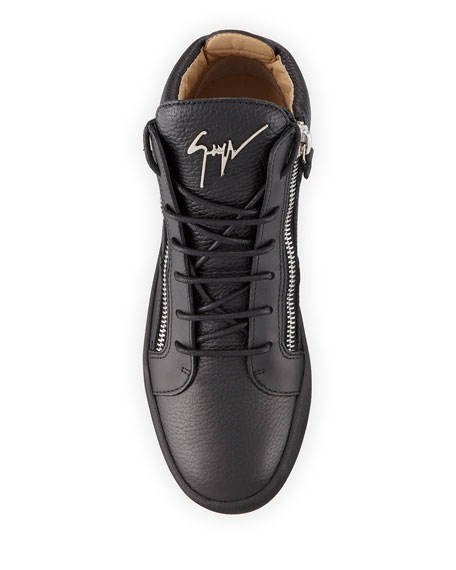 Men's Textured Leather Mid-Top Sneakers