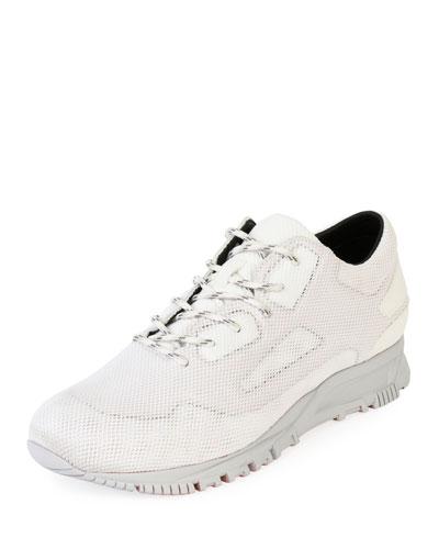 Men's Mesh-Overlay Leather Running Sneakers
