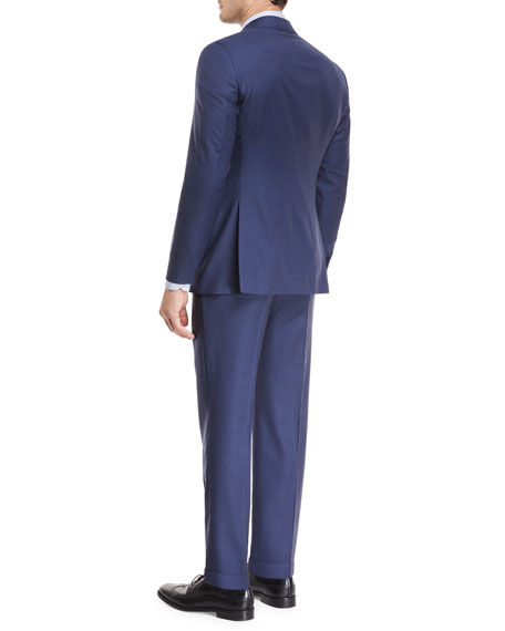Tonal Grid Wool Two-Piece Suit