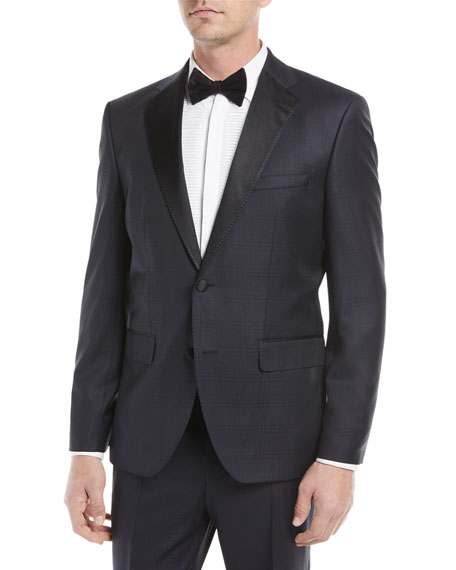 BOSS Tonal Plaid Peak-Lapel Slim Tuxedo Set