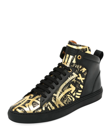 Bally Hedo Graffiti Leather High-Top Sneaker and Matching