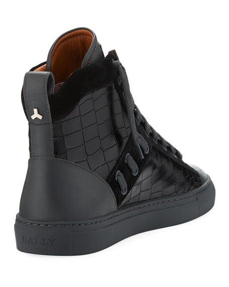Men's Hekem Croc-Embossed Leather High-Top Sneakers