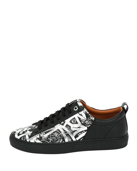 Men's Herbi Graffiti-Print Leather Low-Top Sneakers